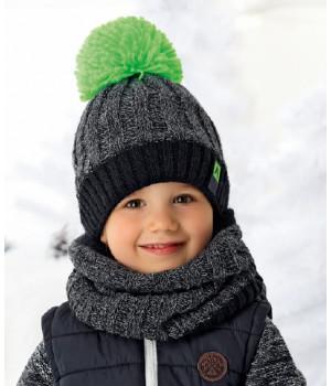 AJS комплект 36-429 шапка двойная вязка + шарф (р.54-56)