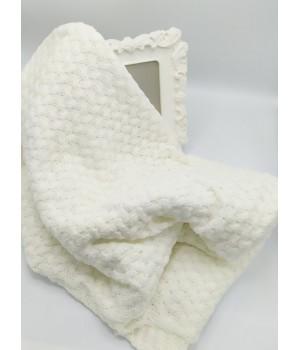 Вязанный плед  для новорожденного Белый