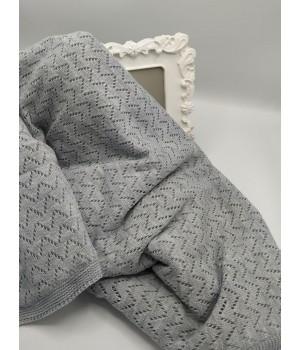 Вязанный плед  для новорожденного Серый